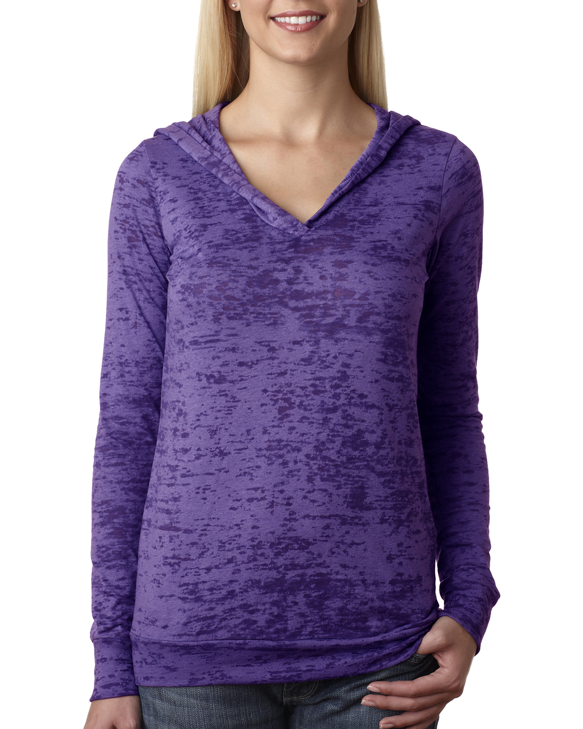 Next Level 6521-The Ladies Poly/Cotton Burnout Hoodie