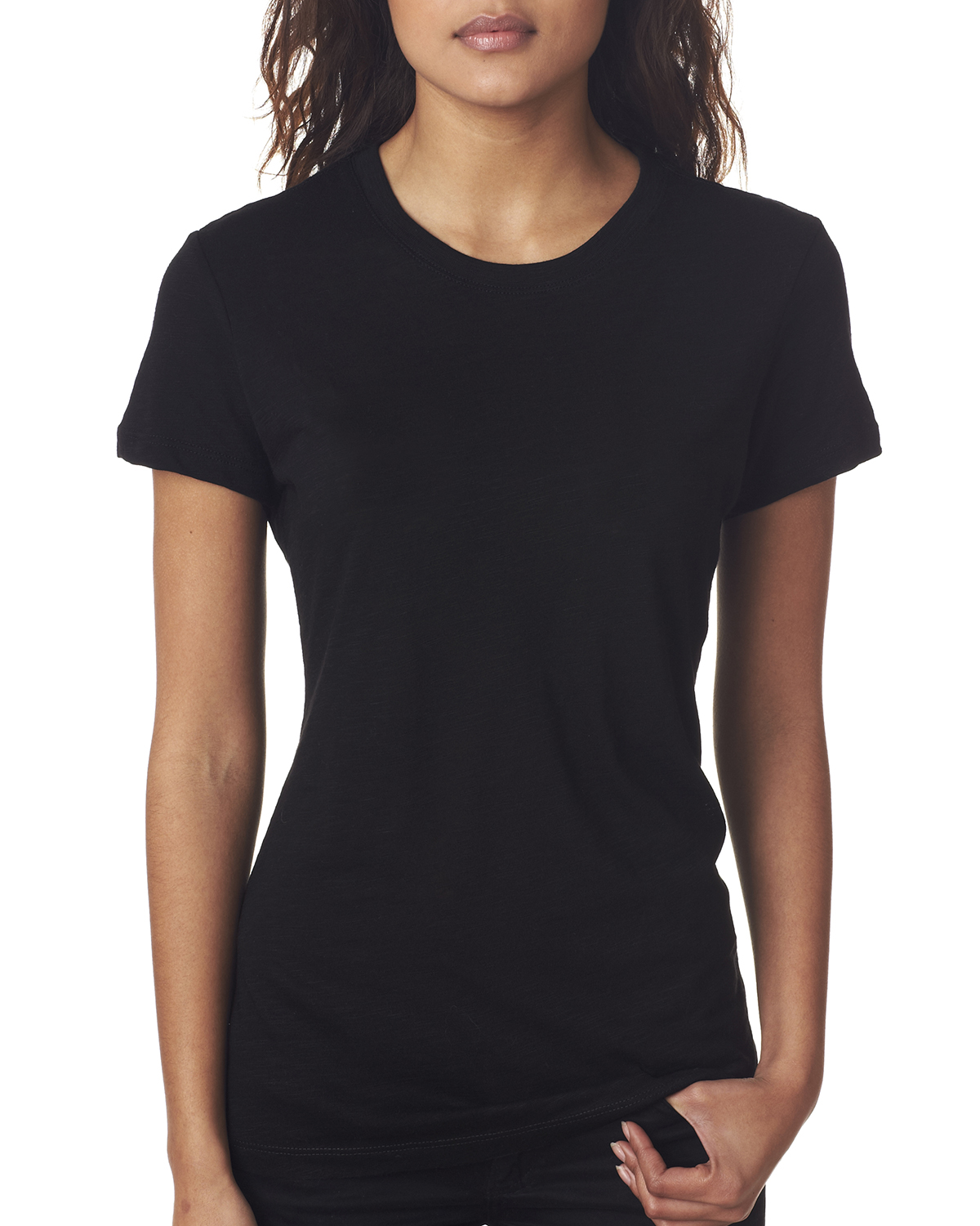 Next level 6840 the slub cross over v tee women for Womens black tee shirt