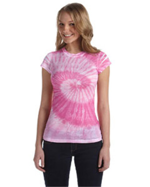 Tie-Dye CD1455 Ladies 100% Spun Polyester with Moisture Management T - Junior Cut