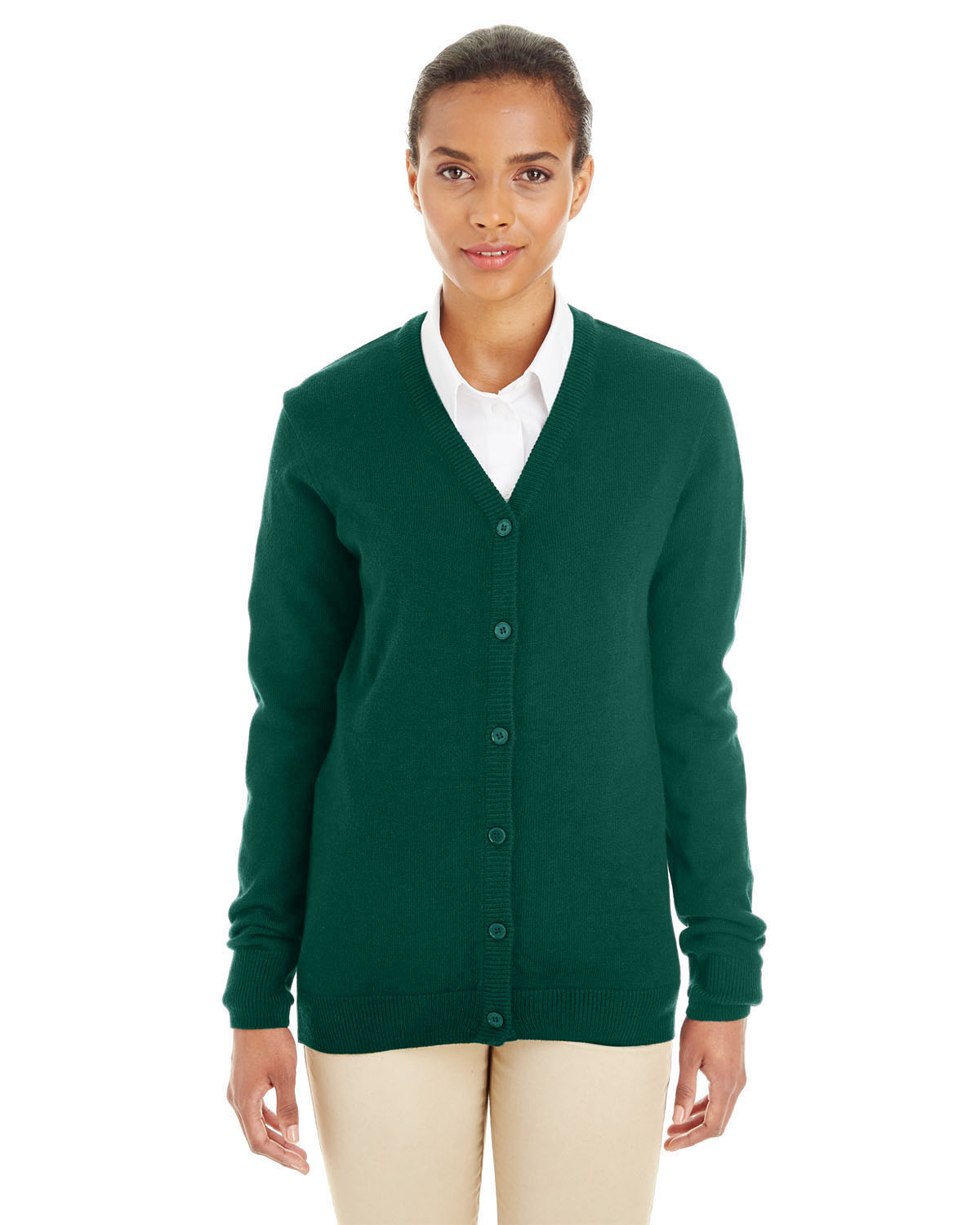 Harriton M425W - Ladies' Pilbloc™ V-Neck Button Cardigan Sweater ...
