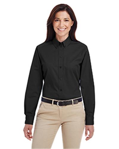 Harriton Foundation 100/% Cotton Short-Sleeve Twill Shirt Teflon M582