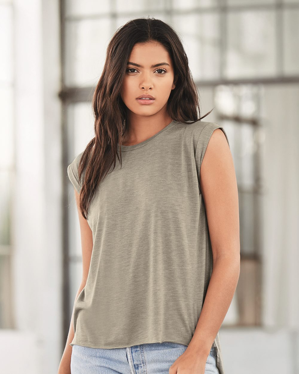 23edf8096 Bella + Canvas 8804 - Women's Flowy Muscle Tee with Rolled Cuffs ...
