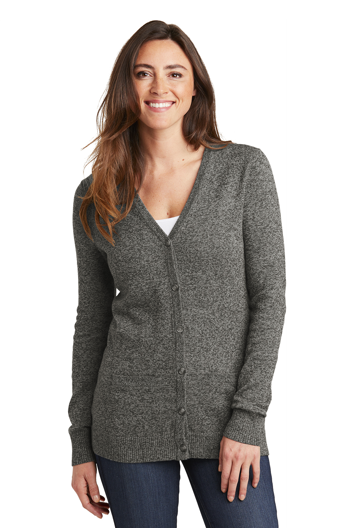 8f9efeeaf9 Port Authority LSW415 - Ladies Marled Cardigan Sweater  33.74 ...