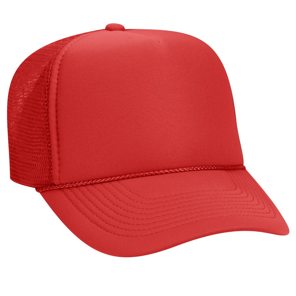 9262d53d5 Polyester foam front solid and two tone color five panel pro style mesh  back caps - Red