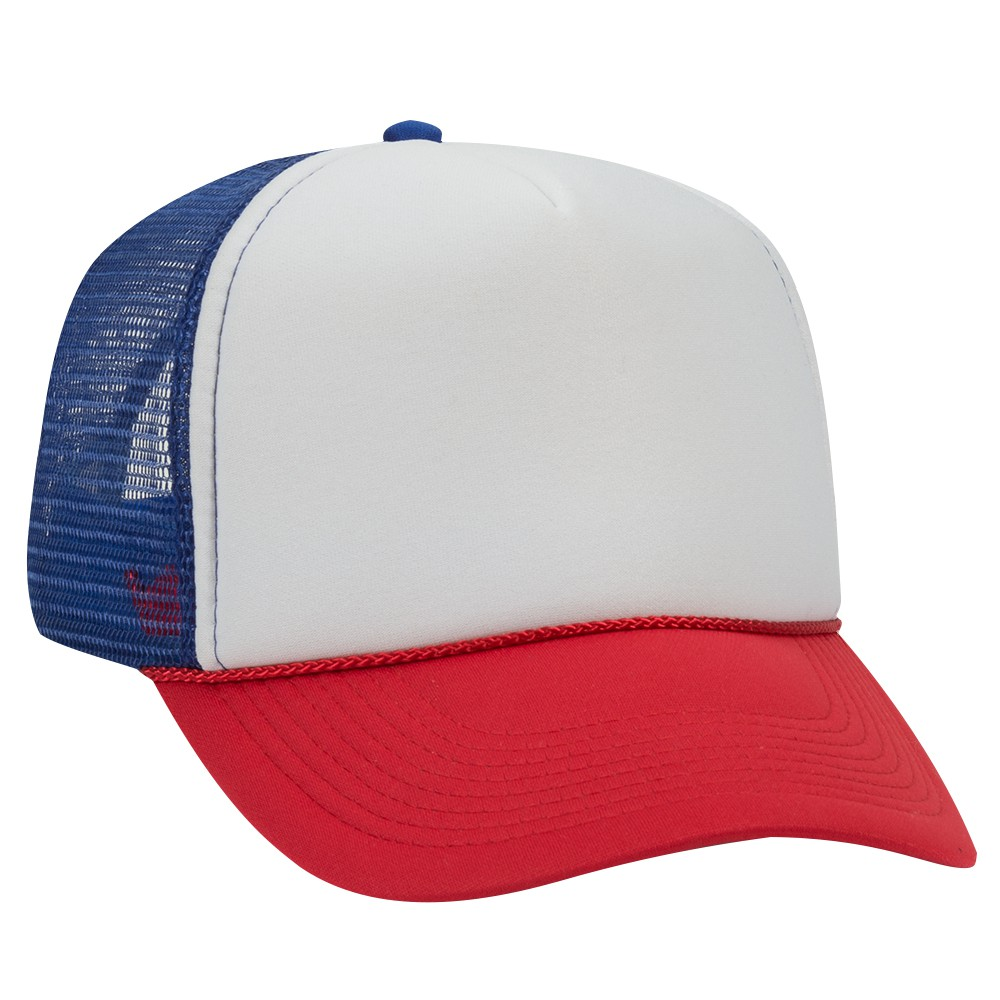 4b8672c1c Polyester foam front solid and two tone color five panel pro style mesh  back caps - Red/Wht/Ryl