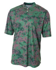 A4 Drop Ship NB3263 - Youth Camo 2-Button Henley Shirt