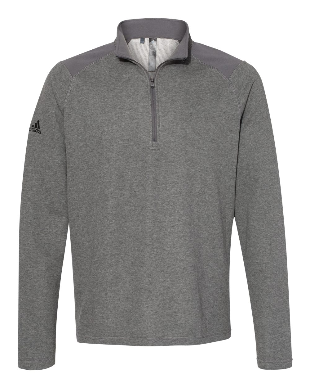 Adidas A463 - Heathered Quarter Zip Pullover with Colorblocked Shoulders