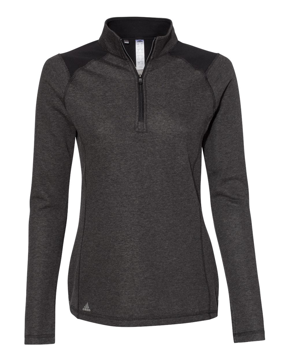 Adidas A464 - Women's Heathered Quarter Zip Pullover with Colorblocked Shoulders