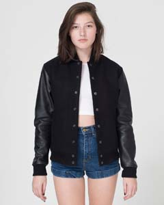 American Apparel Drop Ship SAWN402 - Wool Club Jacket With Leather Sleeves
