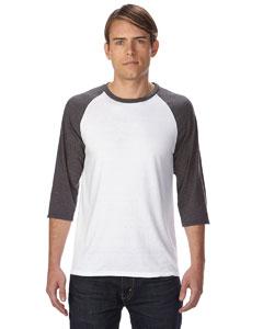 Anvil 6755 男士混纺拼接七分袖T恤