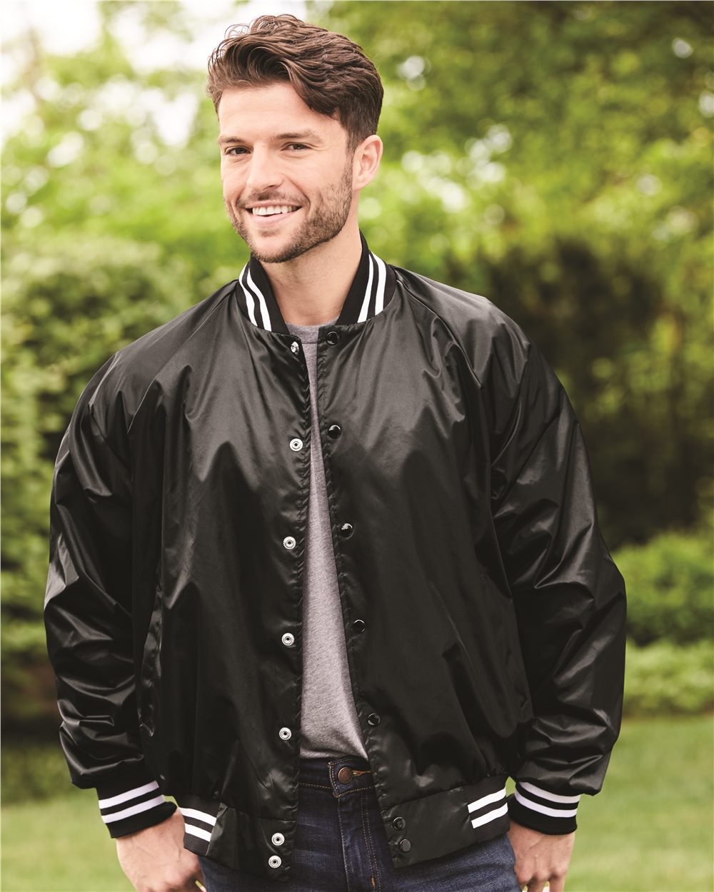 Augusta Sportswear 3610 - Satin Baseball Jacket Striped ...