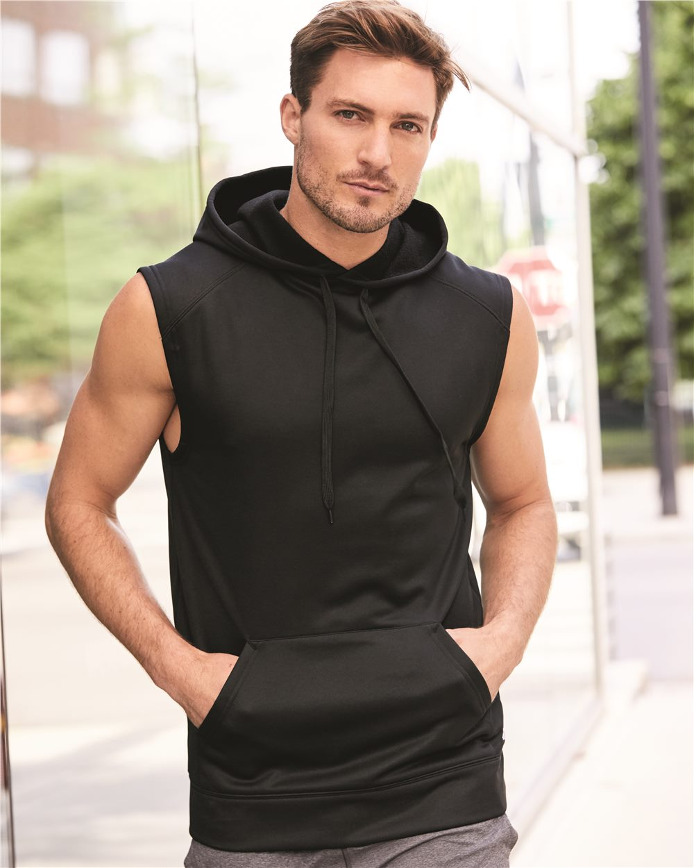 Badger 1430 - Sleeveless Performance Fleece Hooded Pullover