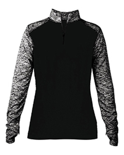 Badger 4198 - Ladies' Blend Colorblock Quarter-Zip Long-...