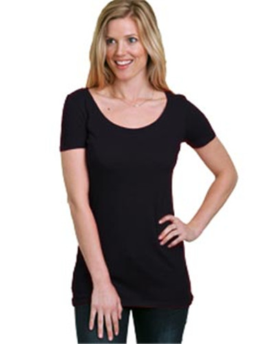 Bayside Ladies Wide Scoop Neck Tee