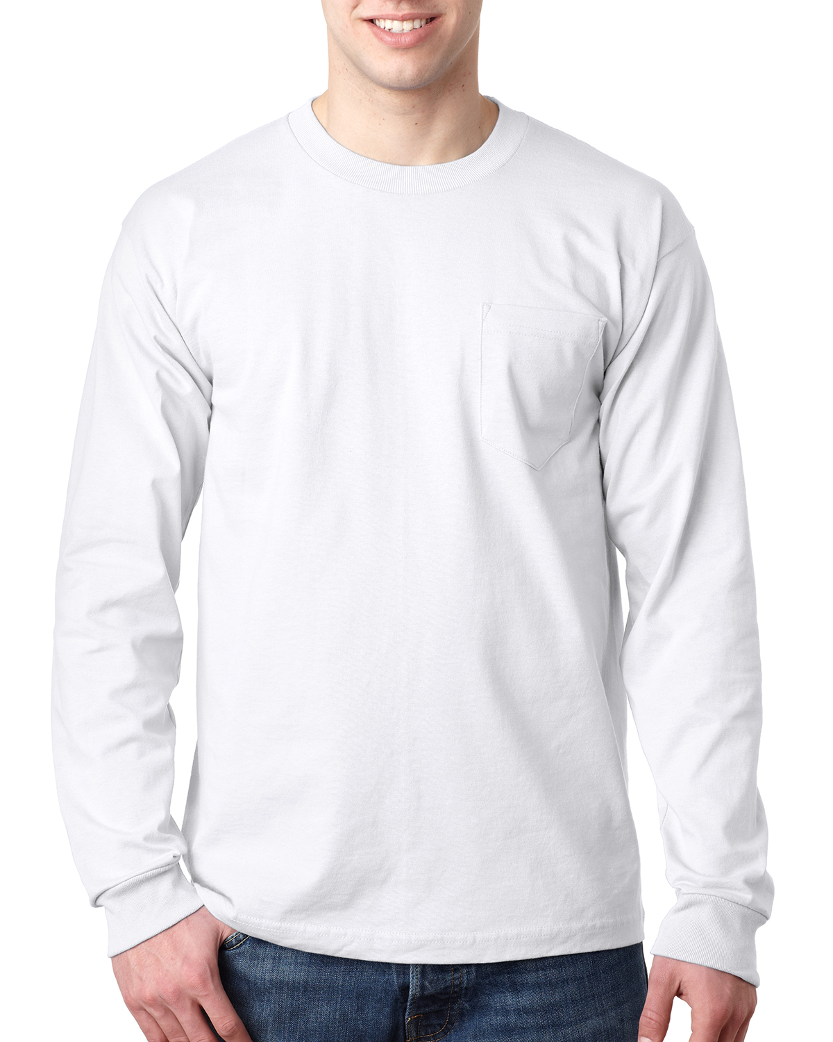 Bayside BA8100 - Adult Long-Sleeve Tee with Pocket
