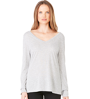 BELLA + CANVAS B8855 - WOMEN'S FLOWY LONG SLEEVE V NECK TEE