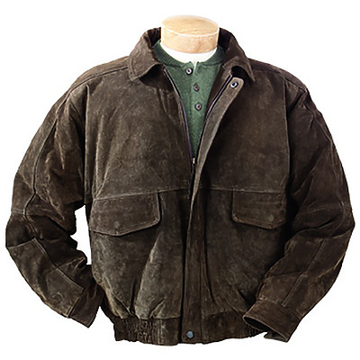 Burk's Bay BB103 - Men's Suede Bomber Full-Zip Jacket