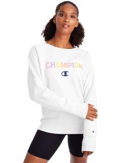 Champion GF567-PC - Women's Powerblend Boyfriend Crew - Pop Color Logo