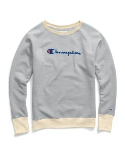 Champion GF567-S - Women's Powerblend® Fleece Boyfriend Crew - Script Logo