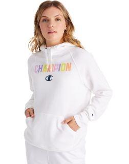Champion GF934-PC - Women's Powerblend Hoodie - Pop Color Logo