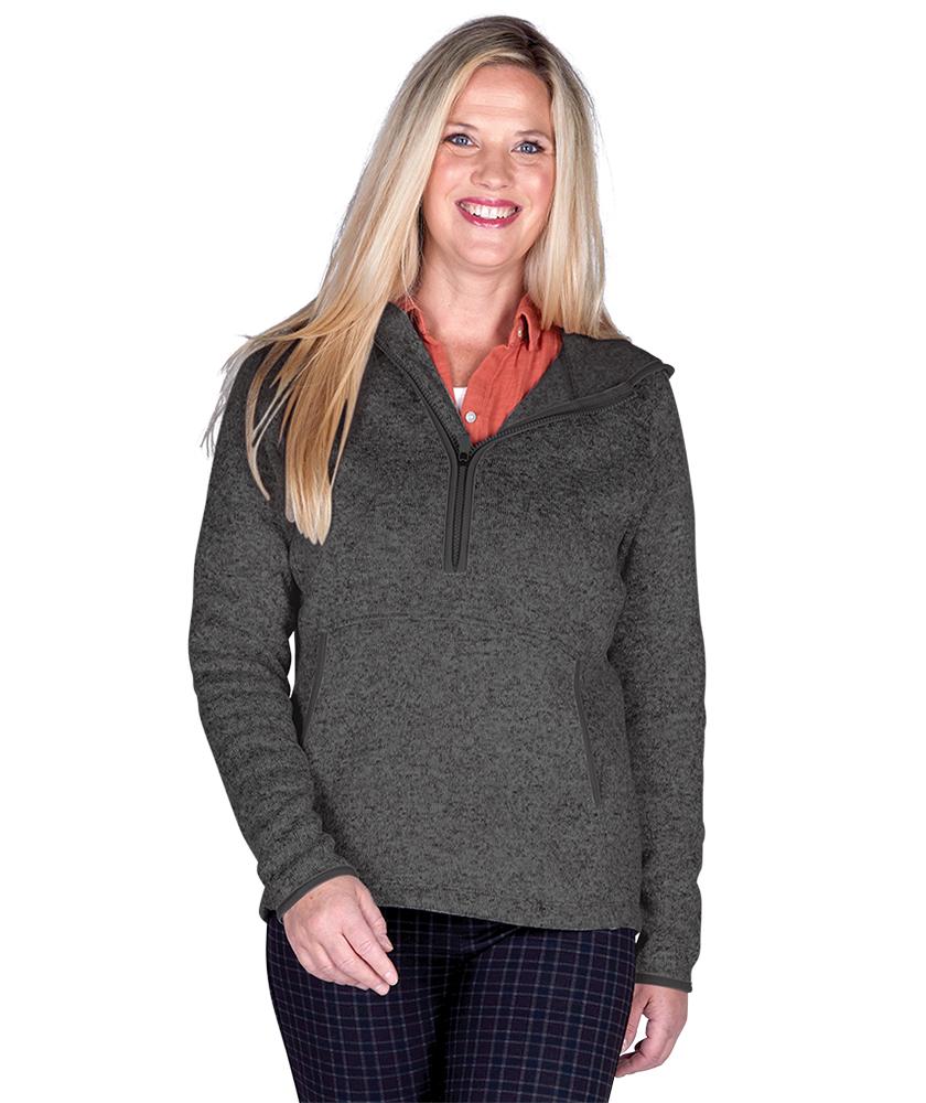 Charles River 5188 - Women's Heathered Fleece Quarter Zip Hoodie