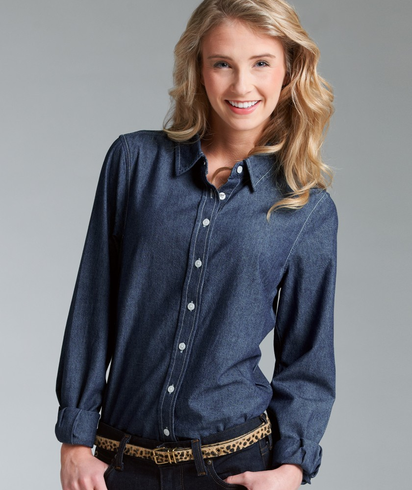 Charles river 2329 women 39 s straight collar chambray for Indigo denim shirt womens