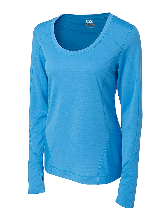 CUTTER & BUCK LCK02464 - Ladies' CB DryTec L/S Mogul V-neck