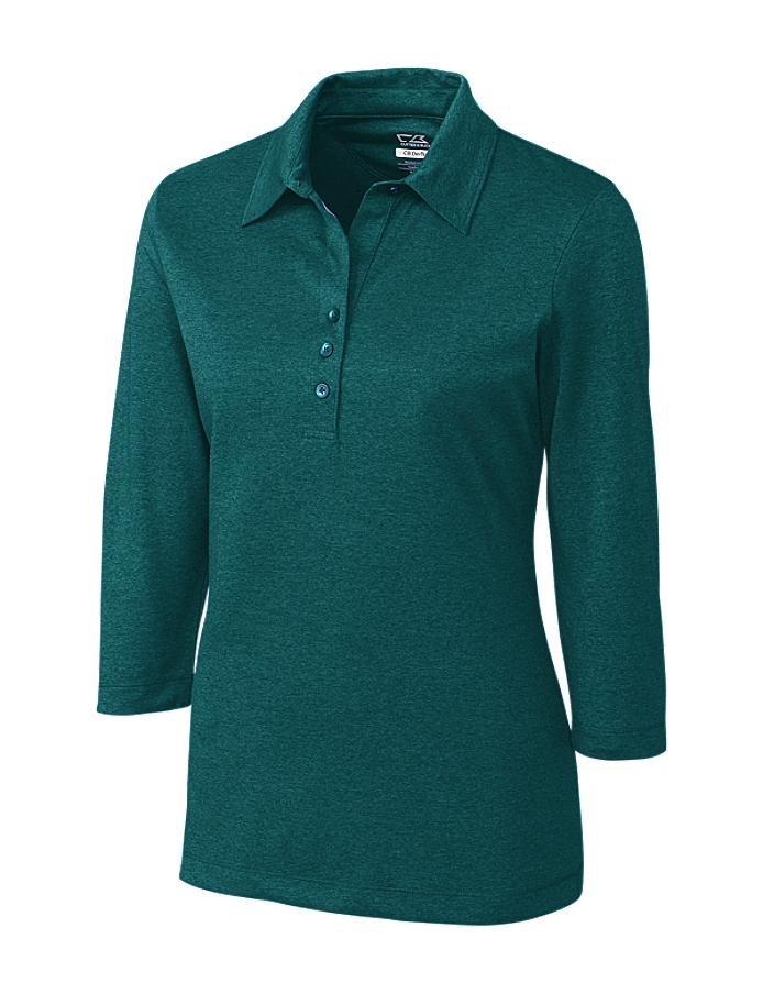 CUTTER & BUCK LCK02593 - Ladies' CB DryTec Three Quarter Sleeve Chelan Polo
