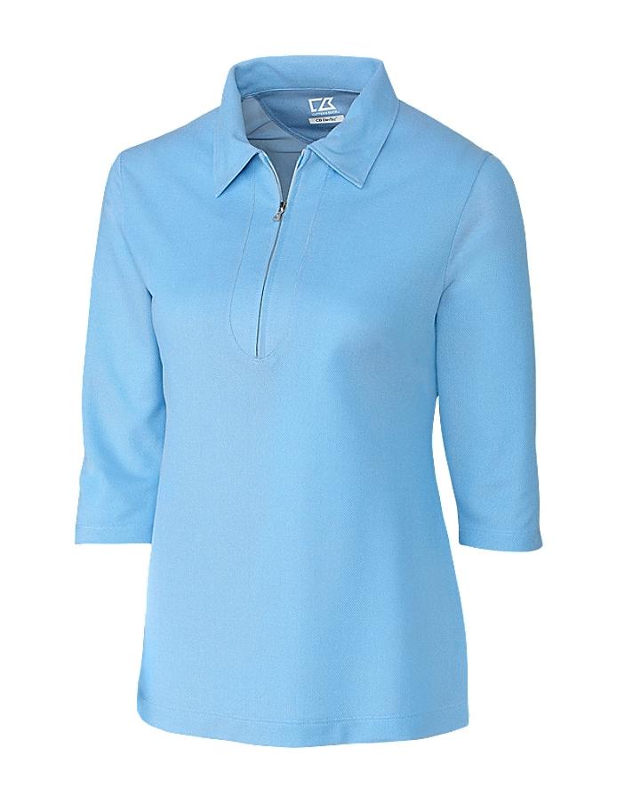 CUTTER & BUCK LCK08643 - Ladies' Blaine Oxford Three Quarter Sleeve Zip Polo