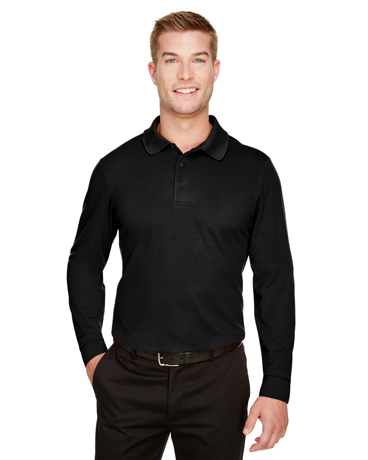 Devon & Jones DG20LT - CrownLux Performance™ Men's Tall Plaited Long Sleeve Polo