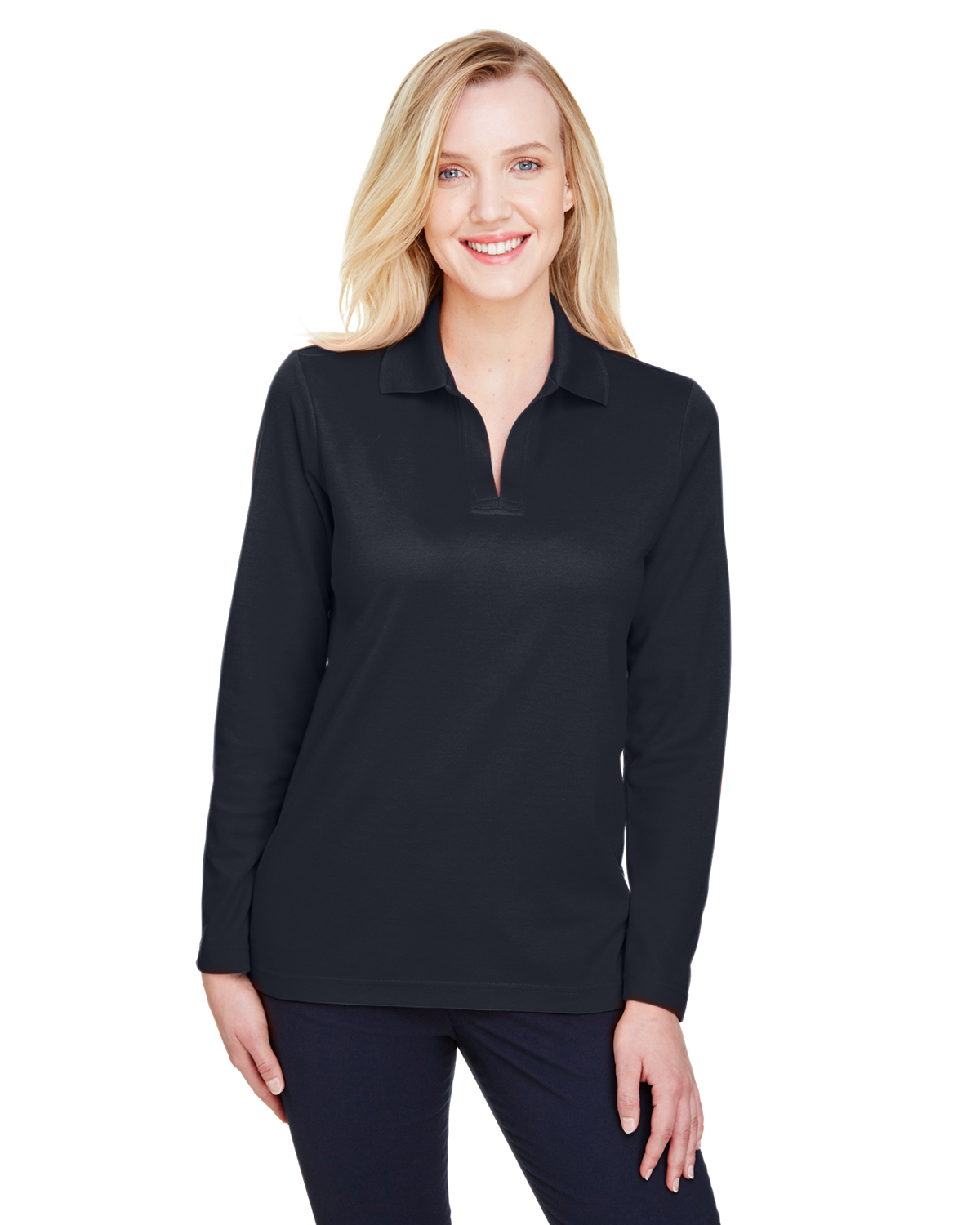 Devon & Jones DG20LW - CrownLux Performance™ Ladies' Plaited Long Sleeve Polo