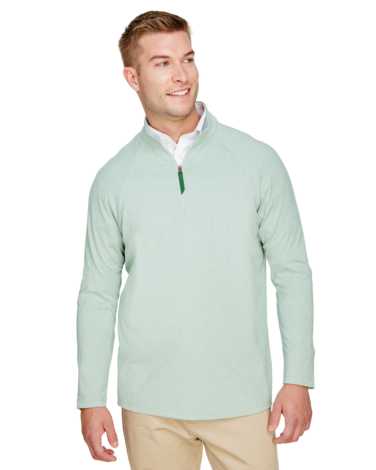 Devon & Jones DG480 - CrownLux Performance™ Men's Clubhouse Micro-Stripe Quarter-Zip
