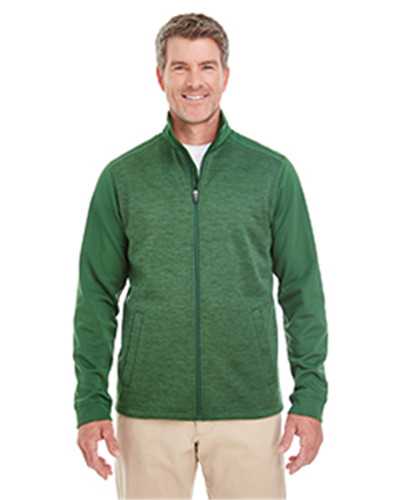 Devon & Jones DG796 - Men's Newbury Colorblock Melange Fleece Full-zip