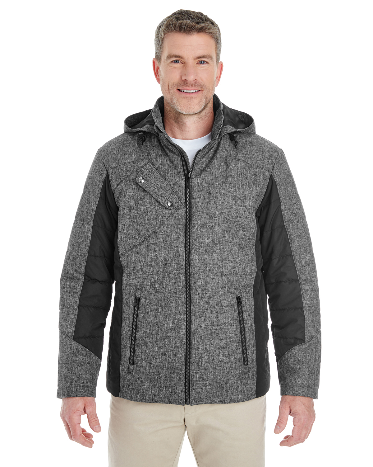 Devon & Jones DG710 - Men's Midtown Insulated Fabric-Block Jacket with Crosshatch Melange