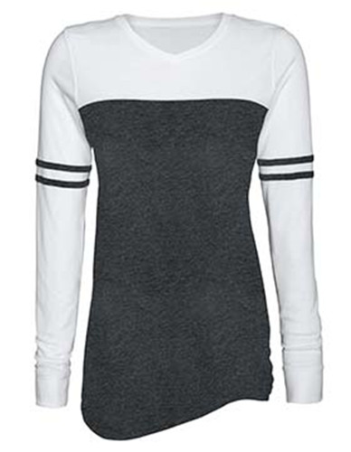 Enza 09879 - Ladies Triblend Varsity Long Sleeve Tee