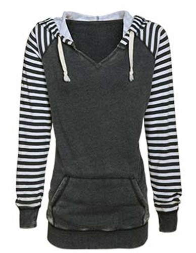 Enza 37579 - Ladies Striped Chalk Fleece Pullover