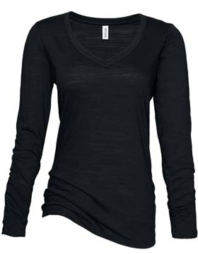 Enza EZ086 - Ladies Textured Triblend long Sleeve V-...
