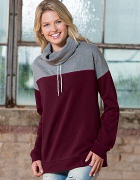 Enza 37879 - Ladies Cowl Neck Colorblock Pullover
