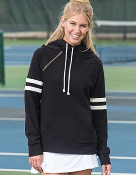 Enza 37379 - Ladies Varsity Double Hood Sweatshirt