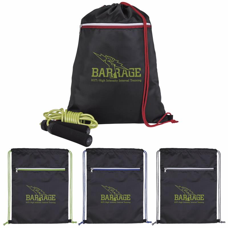Good Value® 15971 Contrast Zip Drawstring Backpack