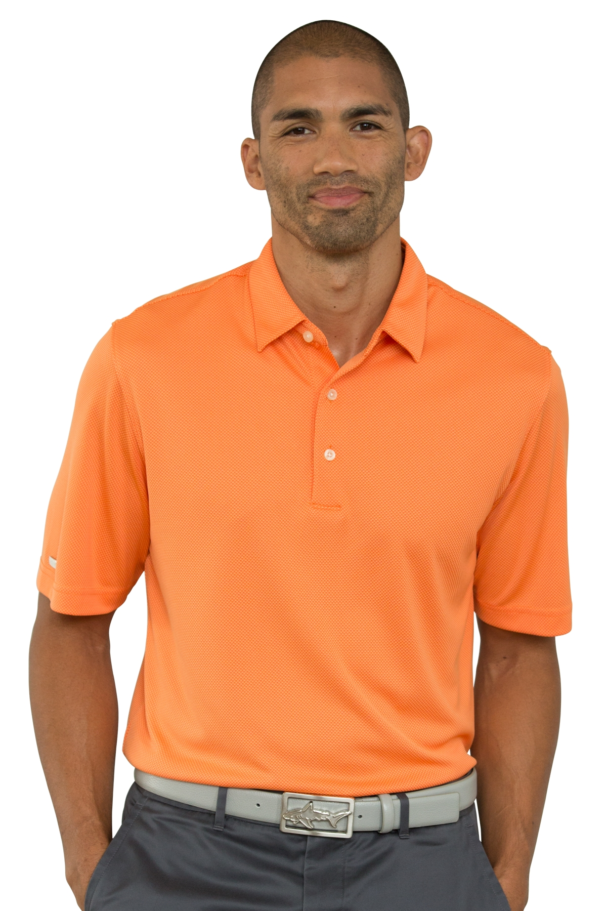 Greg Norman GNS7K432 - Men's Play Dry Jacquard Polo
