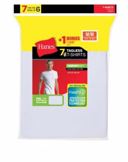 Hanes 2135C7 - Men's TAGLESS® Crewneck Undershirt 7-Pack (Includes 1 Free Bonus Crewneck)