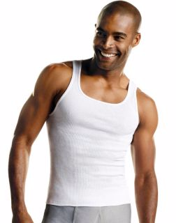 Hanes 372AP6 - Men's TAGLESS® ComfortSoft® White A-Shirt 6-Pack