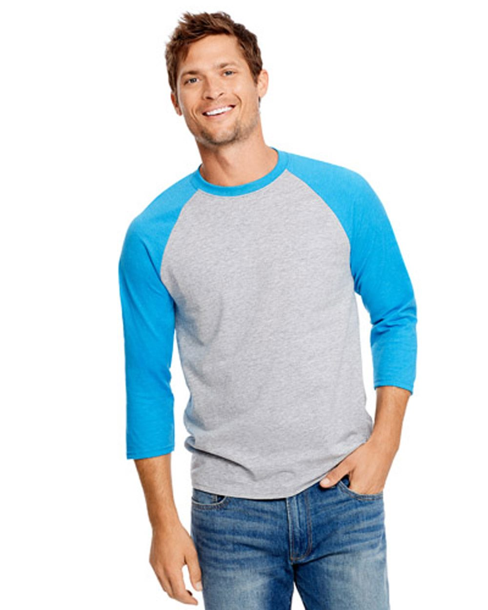Hanes 42BA - X-Temp Three-Quarter Sleeve Baseball T-...