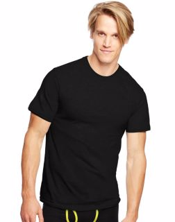 Hanes 7873B3 - Classics Men's Traditional Fit ComfortSoft® TAGLESS® Dyed Black Crewneck Undershirt 3-Pack