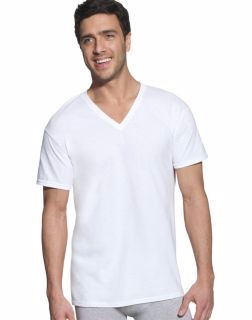 Hanes 7880W6 - Classic Mens White V-Neck T-Shirt P6