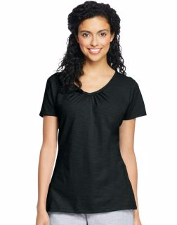 Hanes 9253 - Women's Slub Jersey Shirred V-Neck