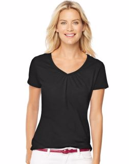 Hanes 9333 - Women's Short-Sleeve Shirred V-Neck Tee