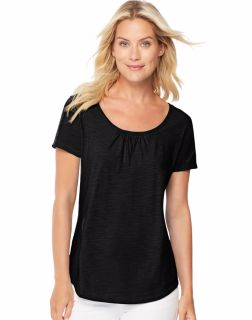 Hanes 9336 - Women's Short-Sleeve Shirred Scoop-Neck ...