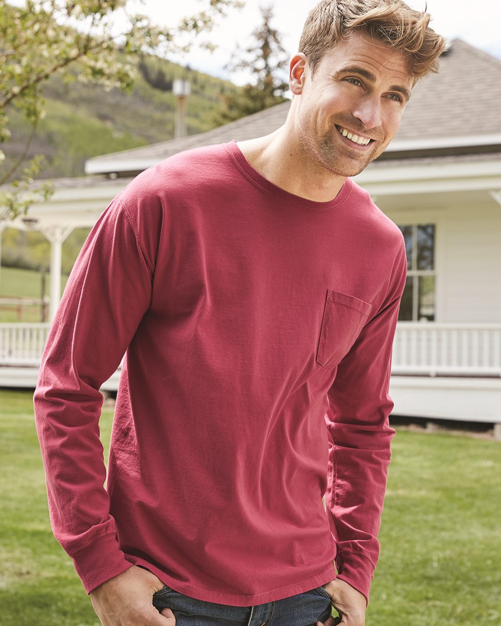 Hanes ComfortWash GDH250 - Garment Dyed Long Sleeve T-Shirt With a Pocket